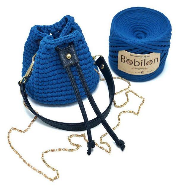 Торбочка цвет классический синий из трикотажной пряжи Бобилон уонструктор для вязания крючком