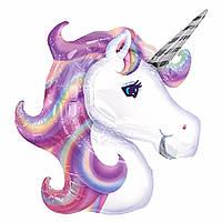 Шарик фигурный надувной, ЕДИНОРОГ (фиолетовый) - 105 см