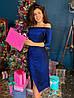 Вечернее блестящее фиолетовое платье миди с разрезои и открытыми плечами, фото 7