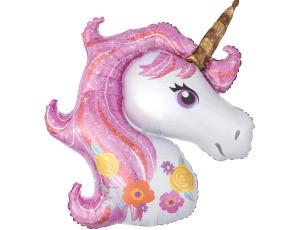 Шарик фигурный надувной, ЕДИНОРОГ (розовый) - 105 см