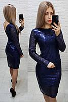 Нарядное женственное платье с открытой спинкой, арт 184, чёрного цвета, цвет синий, фото 1