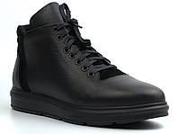 Зимові чорні черевики шкіряні на хутрі чоловіче взуття великих розмірів Rosso Avangard North Black Lion 02-227 BS