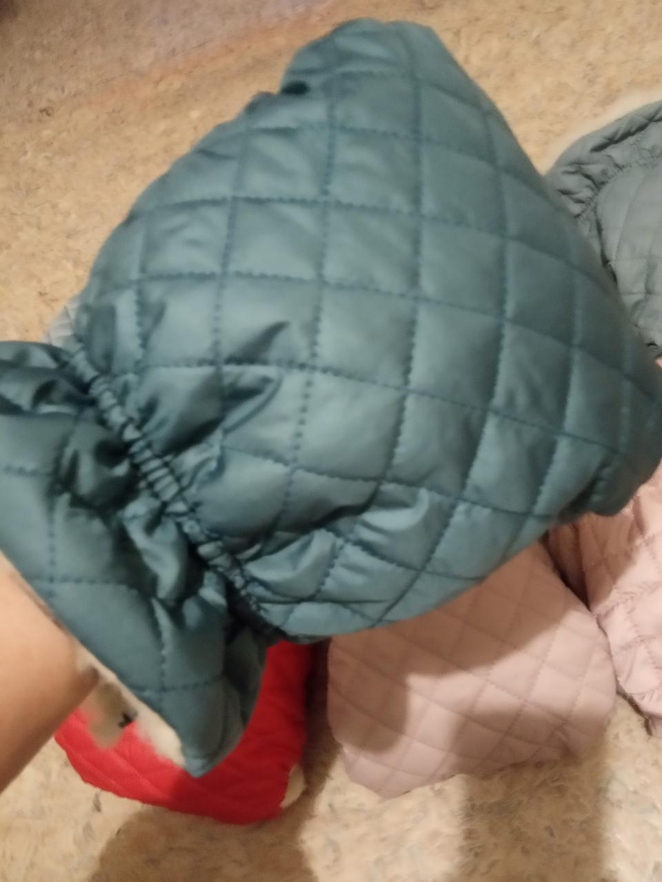 Муфта стеганая рукавички для коляски морской зеленый