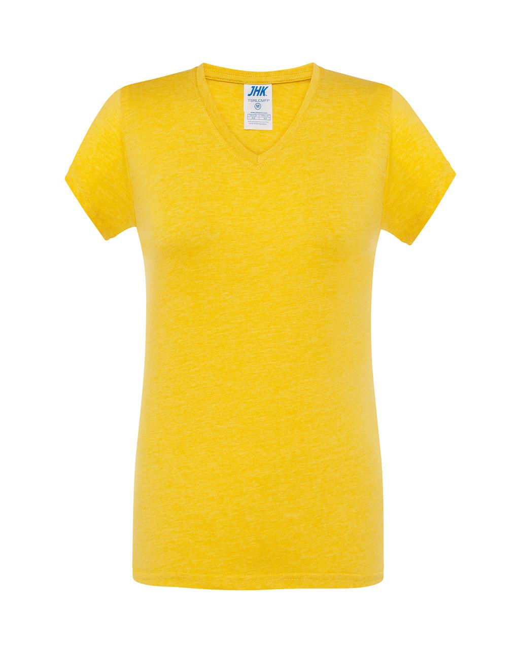 Женская футболка JHK COMFORT V-NECK LADY цвет горчичный (MUH)