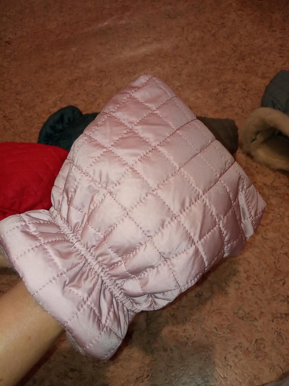 Муфта стеганая рукавички варежки для коляски пудра глянец
