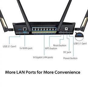 Беспроводной маршрутизатор Asus RT-AX88U (AX6000, 8xGE LAN, 1xGE WAN, 2xUSB3.1, MU-MIMO, 4 антенны), фото 2