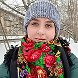 Русская красавица 325-18, павлопосадский платок шерстяной  с шерстяной бахромой, фото 2