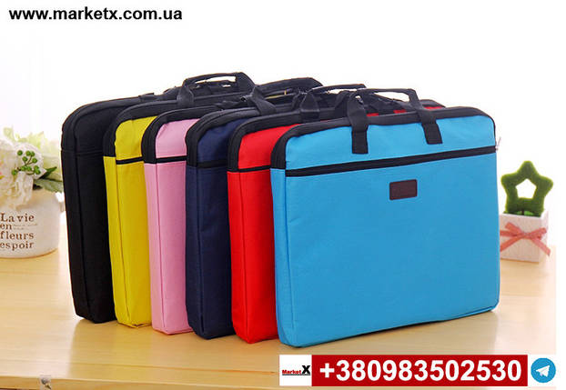 Блакитна сумка А4 з тканини, фото 2