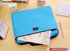 Блакитна сумка А4 з тканини, фото 3