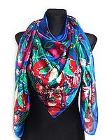 Шелковый платок Fashion Колибри 135*135 см синий, фото 1