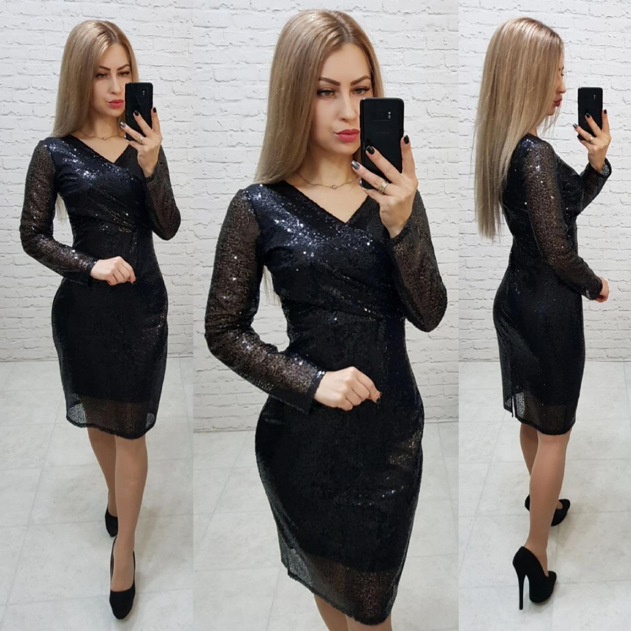 Ошатне жіночне плаття з V-подібним вирізом, арт 139, чорного кольору, колір чорний