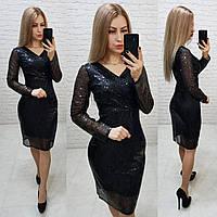 Нарядное женственное платье с V-образным вырезом, арт 139, чёрного цвета, цвет чёрный, фото 1