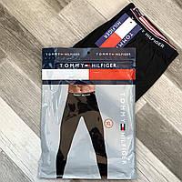Термокальсоны мужские хлопок Tommy Hilfiger, двухслойные, чёрные, L-3XL размеры, TH001
