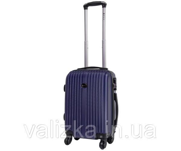 Пластиковый чемодан ручная кладь  Fly-063 на 4-х колесах темно синий