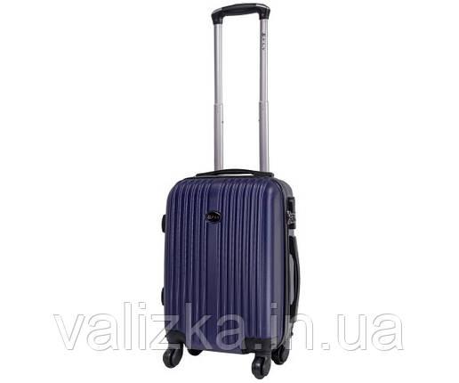 Пластиковый чемодан ручная кладь  Fly-063 на 4-х колесах темно синий, фото 2