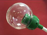 Плафон 15 см прозрачный с зеленым переходником на трубу 20мм