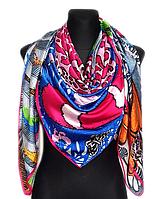 Шелковый платок Fashion Италия 135*135 см фуксия, фото 1