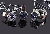 Серебряный комплект украшений с синим камнем 16,5 размер 009.12