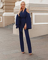 Женский деловой брючный костюм с пиджаком с необычными рукавами и открытыми плечиками