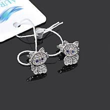 Детские серебряные серьги гвоздики котики Aurora 82504