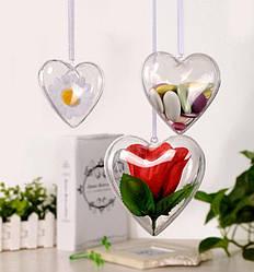 Заготовка для декора пластиковая, складная, Сердце, 8 см