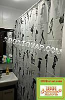 """Тканевая шторка для ванной комнаты """"Semsiyeli piz"""" (Девушка с зонтиком) из полиэстера Miranda, 180х200 см."""