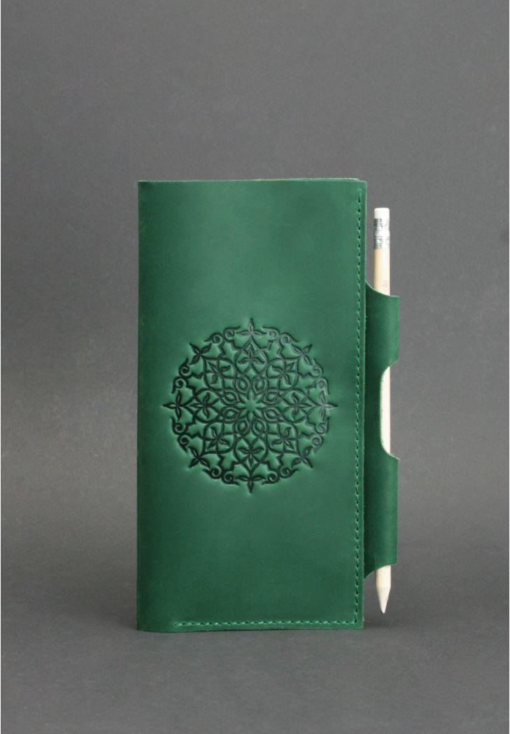 Кошелек кожаный для документов дорожный кейс зеленый (ручная работа)