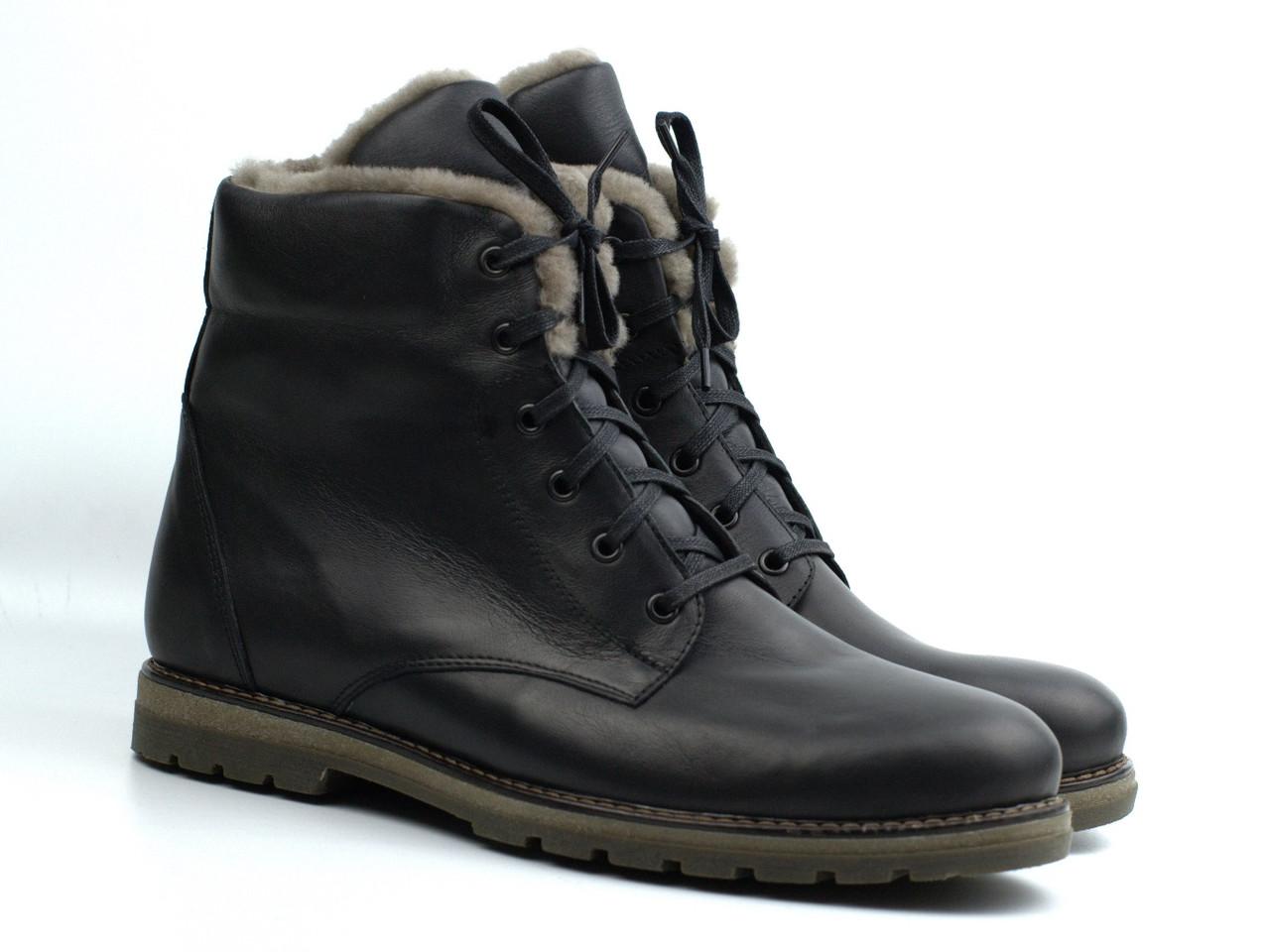 Зимние ботинки кожаные на натуральной цигейка мужская обувь больших размер Rosso Avangard Whisper Beaver Lamb