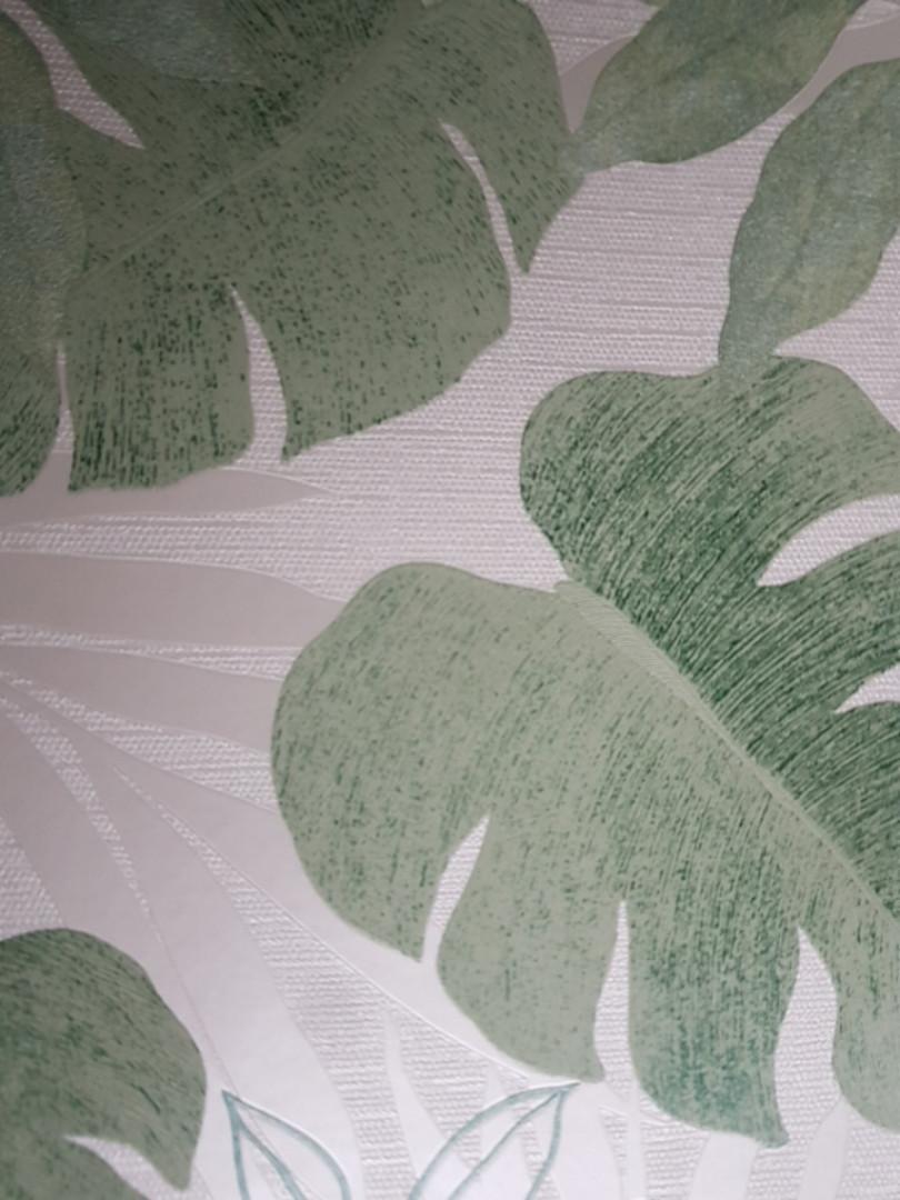 Шпалери вінілові на флізелін Marburg Atelier 31417 метрові листя зелені срібло з сріблом на білому тлі