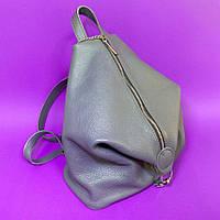 Рюкзак трансформер женский натуральная кожа, серый 1769
