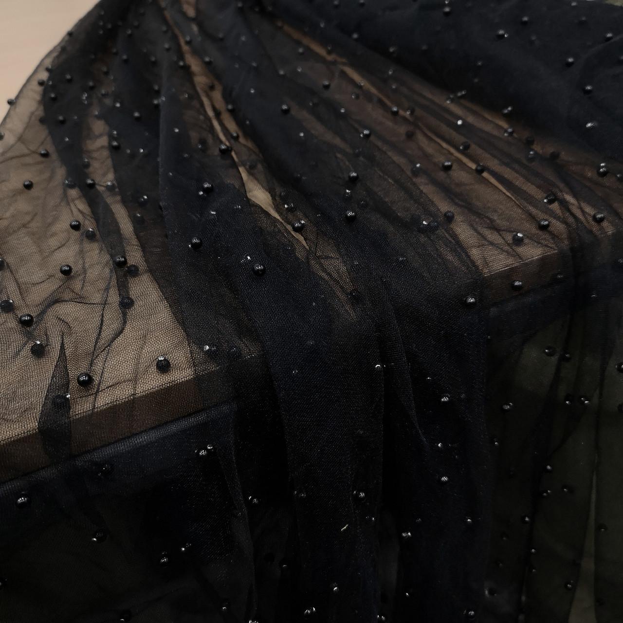 Ткань сетка с бусинами черная