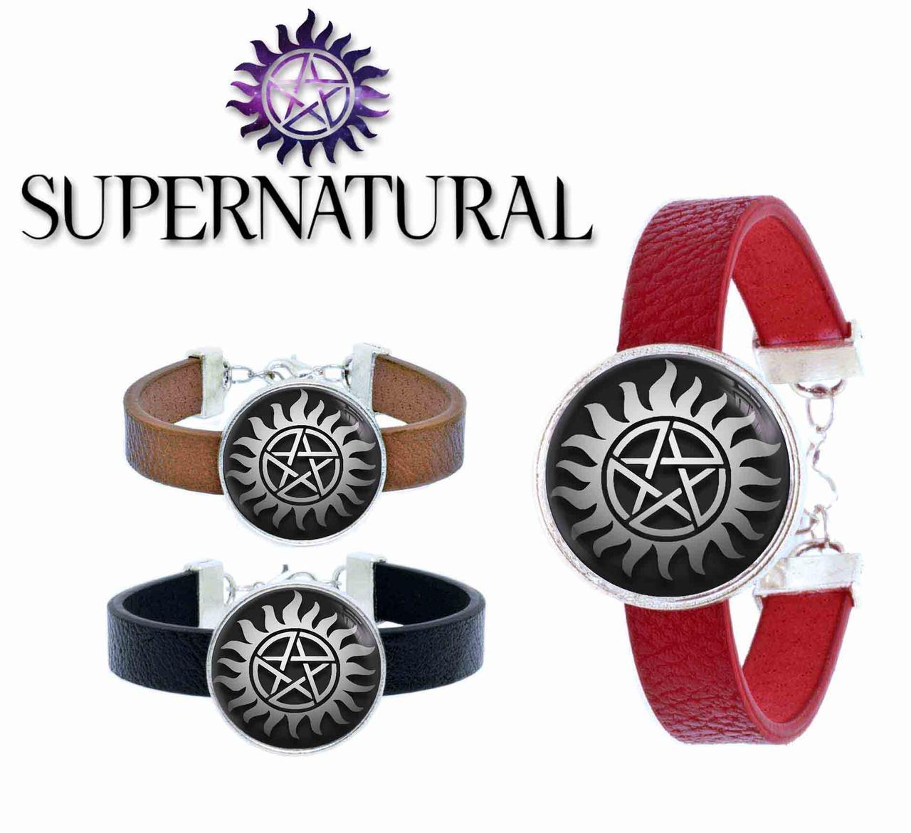 Браслет пламенная пентаграмма на черном Сверхъестественное / Supernatural
