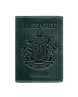 Обложка кожаная для паспорта зеленая Украинский герб (ручная работа)