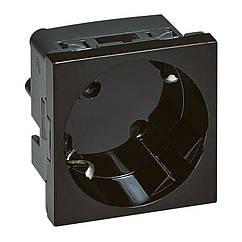 MOSAIC Розетка 2К+З з шторками 2 модуля 16А 250В, колір Чорний