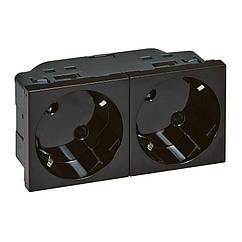 MOSAIC Блок Розеток 2х2К+З 16А 250В 4 модуля, колір Чорний