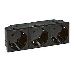 MOSAIC Блок Розеток 3х2К+З 16А 250В 4 модуля, колір Чорний