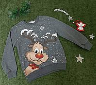 ✅ Свитшот новогодний синий детский Джемпер с оленями для мальчика Размеры  146