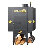 Печь дровяная CANADA длительного горения с теплоаккумулятором  и защитным декоративным кожухом