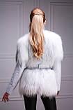 Меховая куртка-жилет из белой полярной лисы, рукава кожаные съемные, фото 2