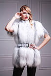 Меховая куртка-жилет из белой полярной лисы, рукава кожаные съемные, фото 3