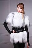 Меховая куртка-жилет из белой полярной лисы, рукава кожаные съемные, фото 4
