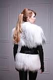 Меховая куртка-жилет из белой полярной лисы, рукава кожаные съемные, фото 5