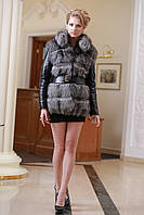 Меховая куртка жилет из чернобурки широкими ярусами,съемные рукава Leather-sleeve silver fox fur coat and vest, фото 1