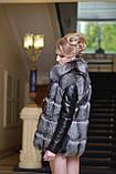 Меховая куртка жилет из чернобурки широкими ярусами,съемные рукава Leather-sleeve silver fox fur coat and vest, фото 2