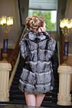 Меховая куртка жилет из чернобурки широкими ярусами,съемные рукава Leather-sleeve silver fox fur coat and vest, фото 3