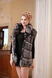 Меховая куртка жилет из чернобурки широкими ярусами,съемные рукава Leather-sleeve silver fox fur coat and vest, фото 4