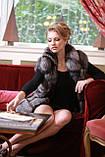 Меховая куртка жилет из чернобурки широкими ярусами,съемные рукава Leather-sleeve silver fox fur coat and vest, фото 5