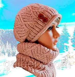 Зимняя шапка берет и снуд ручной работы