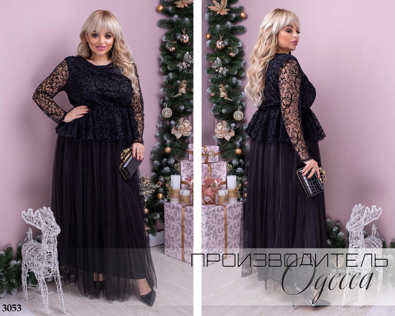 Платье вечернее чёрное длинное с баской флок 50-52,54-56,58-60
