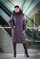 Длинное зимнее пальто пуховик с натуральным мехом
